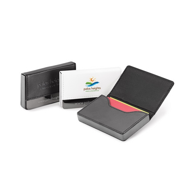 Solano - Vinyl Business Card Holder With Hidden Magnetic Closure & Metal Plate On Front Photo