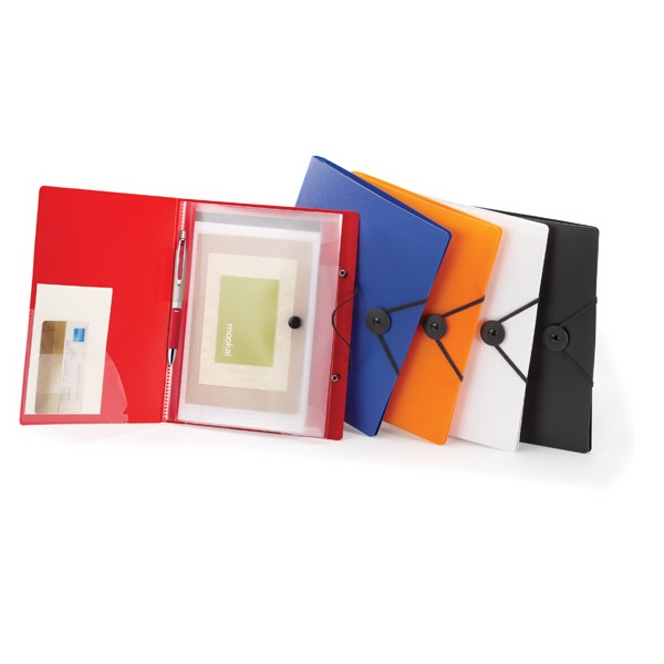 Polypropylene Compact Portfolio With Black Button, Elastic Closure Photo