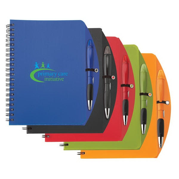 Blossom - Combo With Polypropylene Curved Notebook And Ballpoint Plastic Pen/highlighter Photo