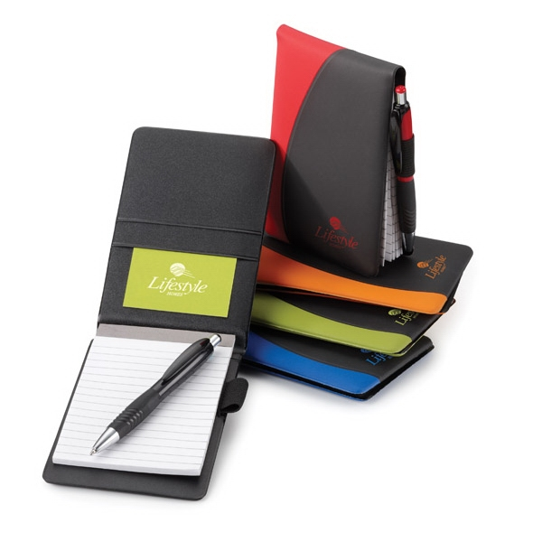 Wave - Wave 2-tone Jotter With Heat Sealed Side Accent And Refillable Lined Memo Pad Photo