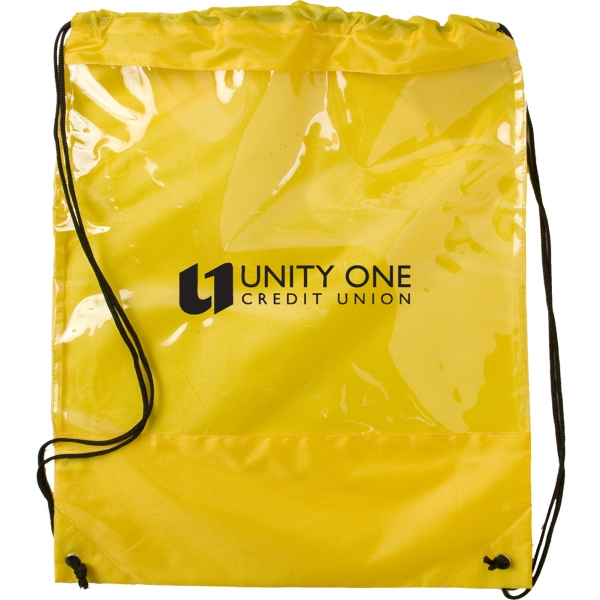 Drawstring Backpack With Clear Pvc Panel Photo