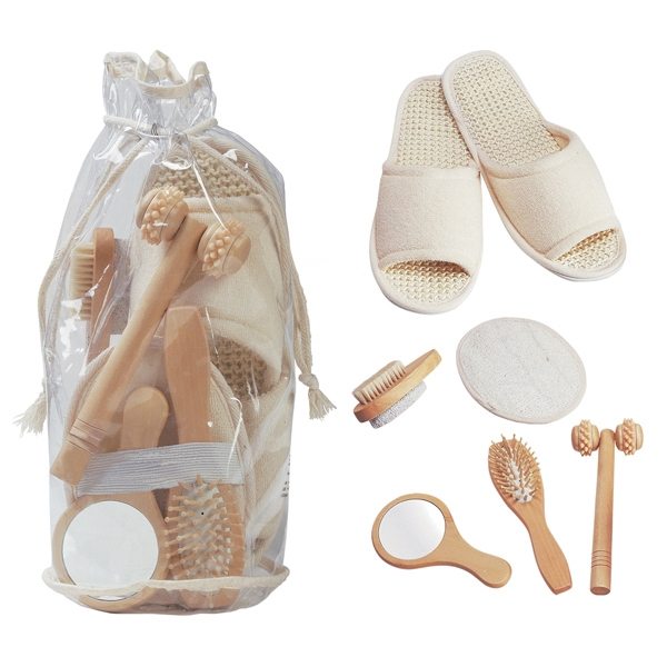Deluxe His And Her Personal Care Kit With Bath Slippers, Massager And Mirror Photo