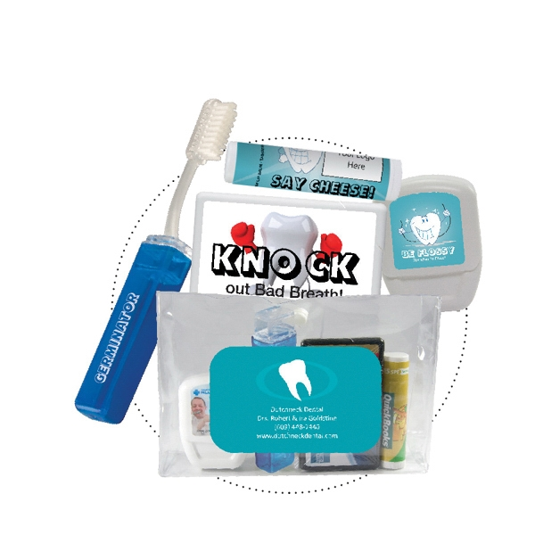 Office - Dental Kit. Dental Kit With Toothbrush, Dental Floss, Mints, And Lip Balm Photo
