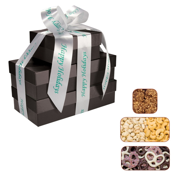 The Four Seasons Gift Box Tower - Pretzels, Pistachios, Nuts