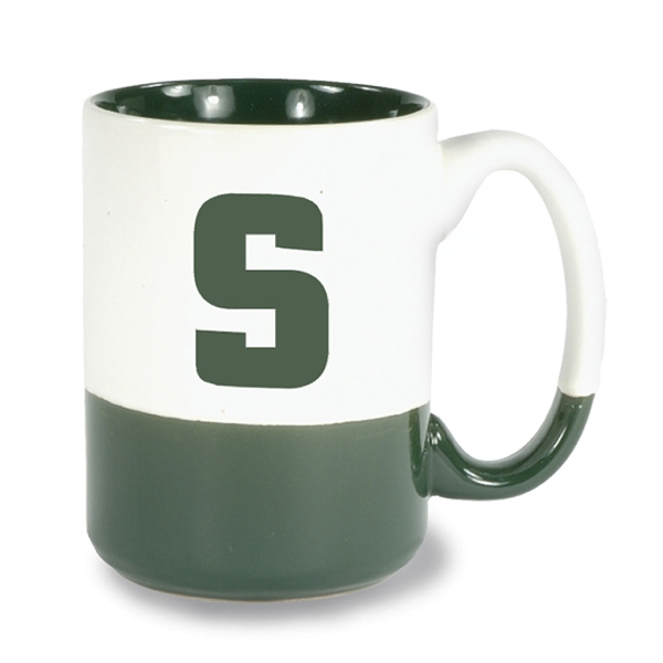 White-green - 13 1/2 Oz Ceramic Mug With Bottom And Interior Accent Color Photo
