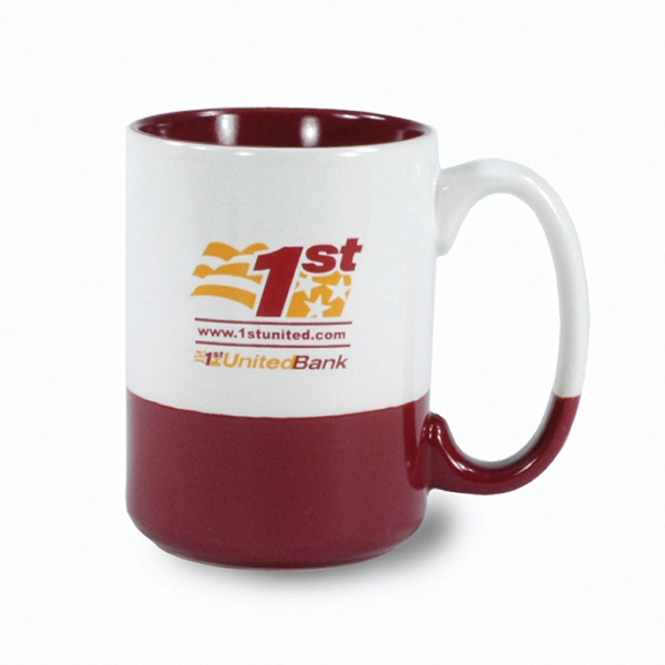 White-maroon - 13 1/2 Oz Ceramic Mug With Bottom And Interior Accent Color Photo