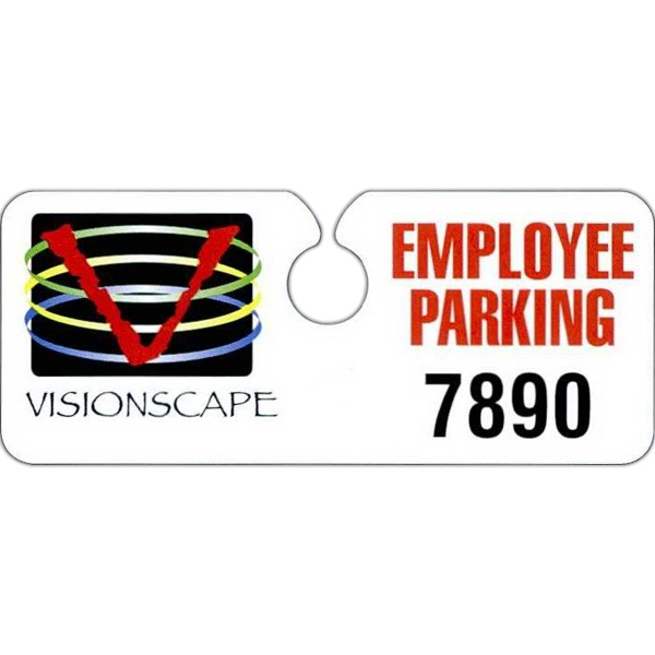 "4 3/4"" X 2"" White, 70% Recycled .035"" Polyethylene Hidden Hang Tag Parking Permit Photo"