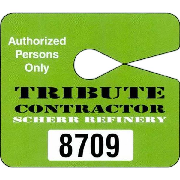 "4"" X 3 1/2"" Deluxe Plastic Jumbo Hang Tag Parking Permit; 4-color Process Photo"