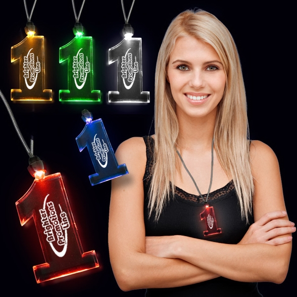 "Amber 1"" #1 LED Light Up Pendants"