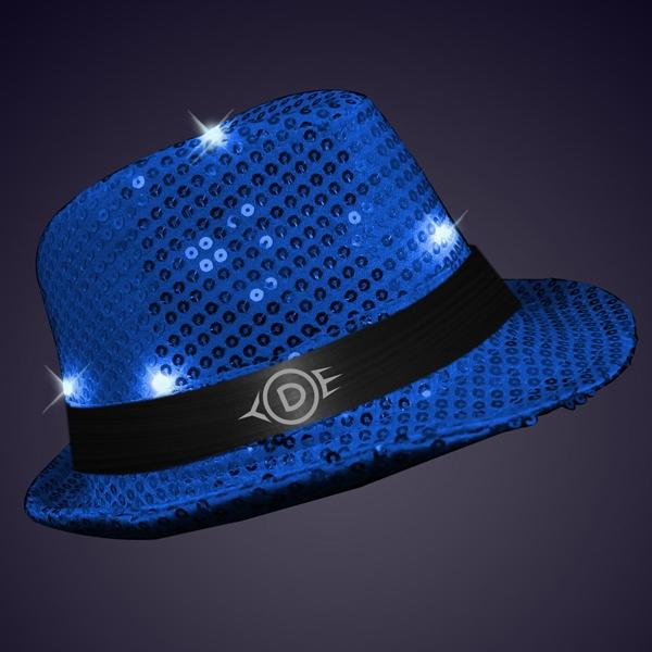 Shiny Blue Fedora Hats with Flashing Lights