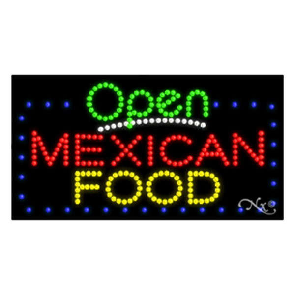 LED Sign with OPEN - Mexican Food