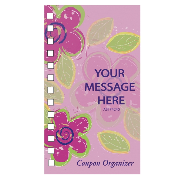Coupon Organizer With A Four Color Process Flower Design On The Cover Photo