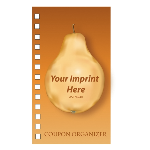 Coupon Organizer With A Four Color Process Pear Design On The Cover Photo
