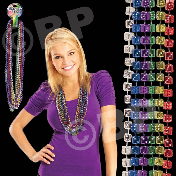 "33"" Mardi Gras Dice Bead Necklace, Assorted Colors, Blank Photo"