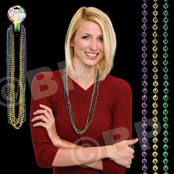 Round Bead Mardi Gras Necklace, Blank Photo
