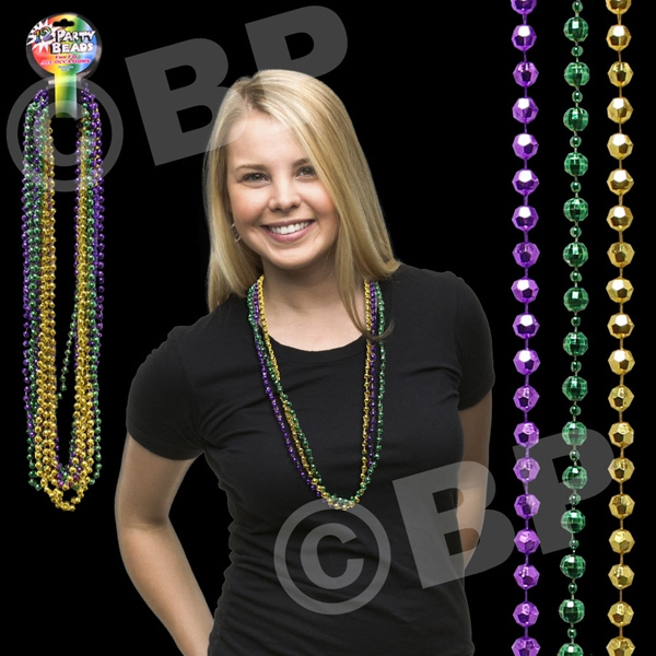 Disco Style Round Beaded Mard Gras Bead Necklace, Blank Photo