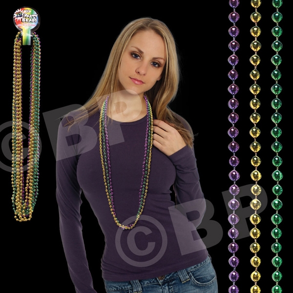"Assorted Color Round Bead Mardi Gras Necklace, 42"" (7 Mm), Blank Photo"