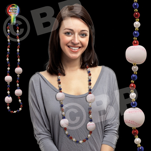"42"" Baseball Bead Necklace, Blank Photo"