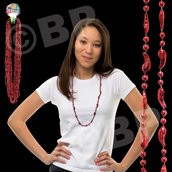 "33"" Metallic Red Chili Pepper Beaded Mardi Gras Beads Necklace, Blank Photo"