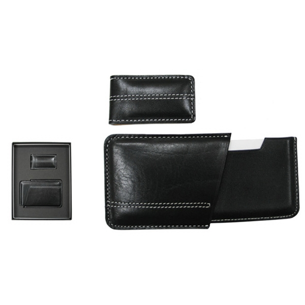 Leather Business Card Case And Money Clip Gift Set Photo