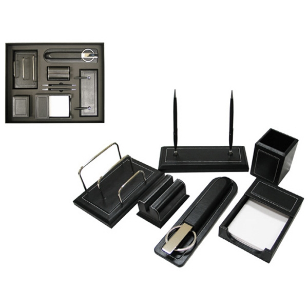Leather Gift Set With Double Pen Stand, Pencil Cup, Scissors And Letter Opener Set Photo