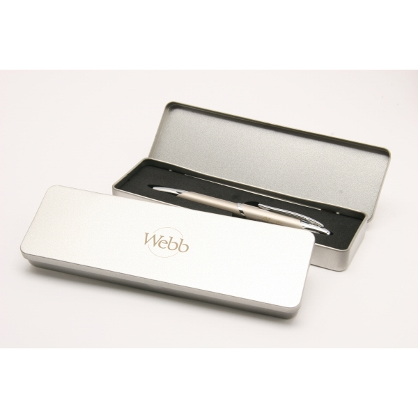 Silver Tin Gift Box Holds Up To Two Pens Photo
