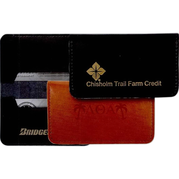 Venture - High-sheen Split Leather Business Card Case With Two Business/credit Card Pockets Photo
