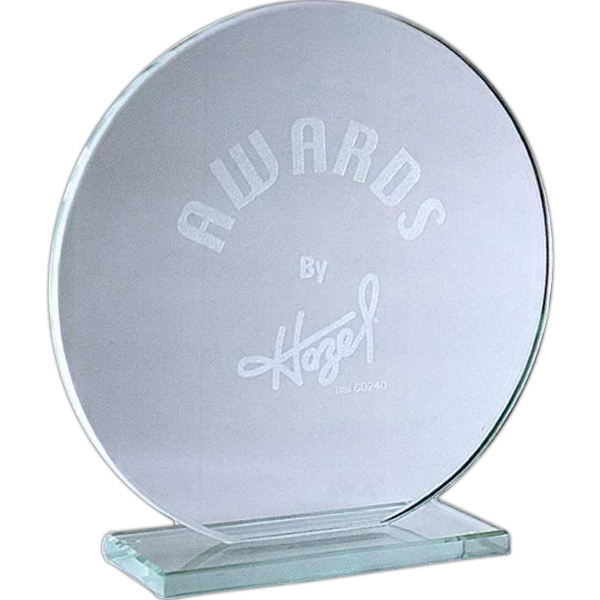 "4 1/2"" - Circular Jade Glass Award With Base Photo"