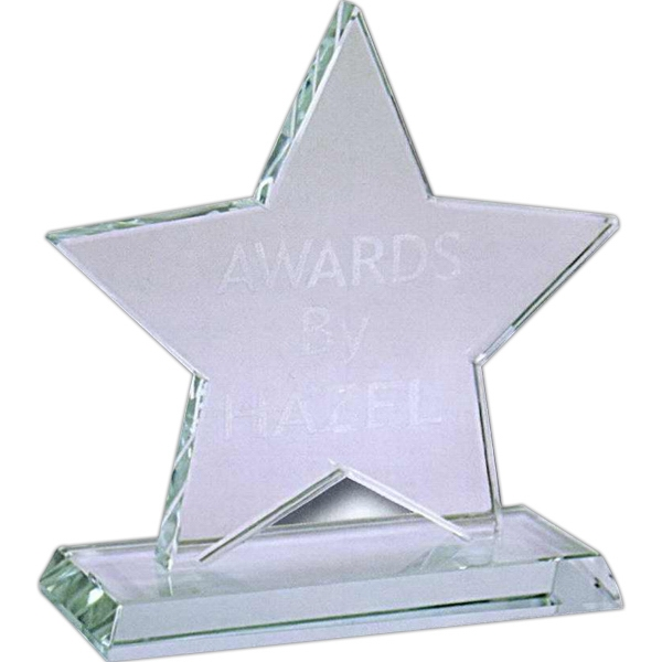 "5 1/4"" - Star Shaped Jade Glass Award With Base Photo"