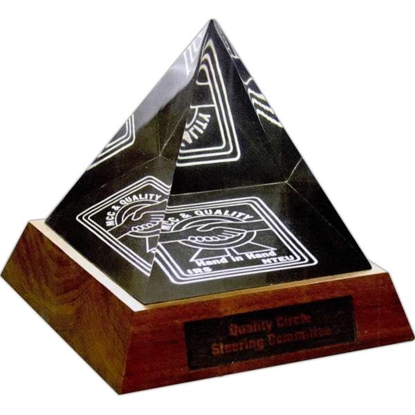 Acrylic Pyramid Award with Wood Base