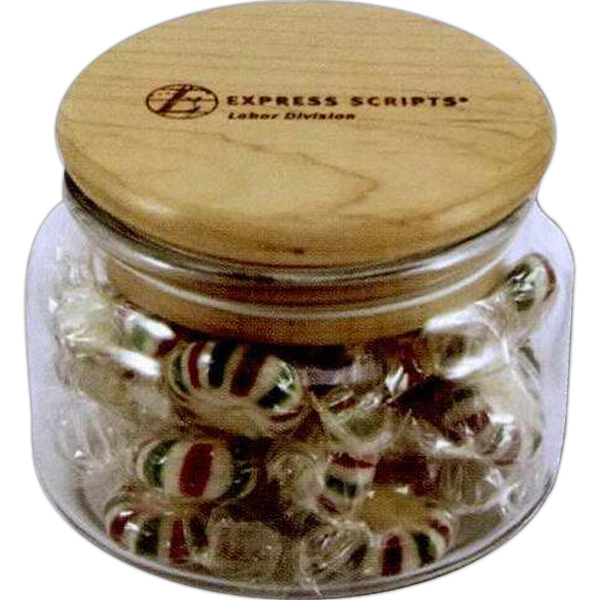 8 Oz - Apothecary Jars With Solid Maple Lids Are Great Employee Or Customer Gifts Photo