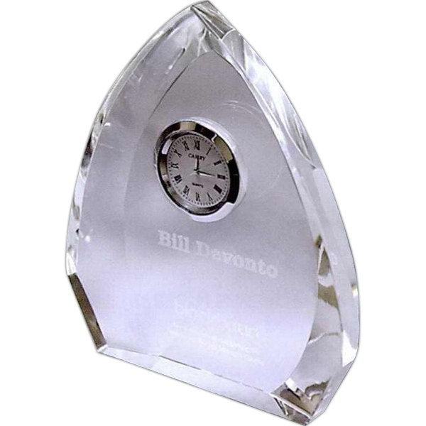 Arched Crystal Award with Clock