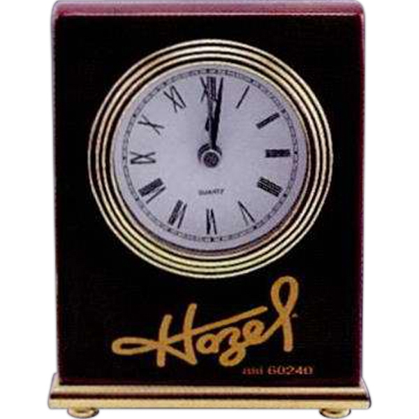 "A Rosewood Piano Finish Desk Clock. 4"" X 5"" Photo"