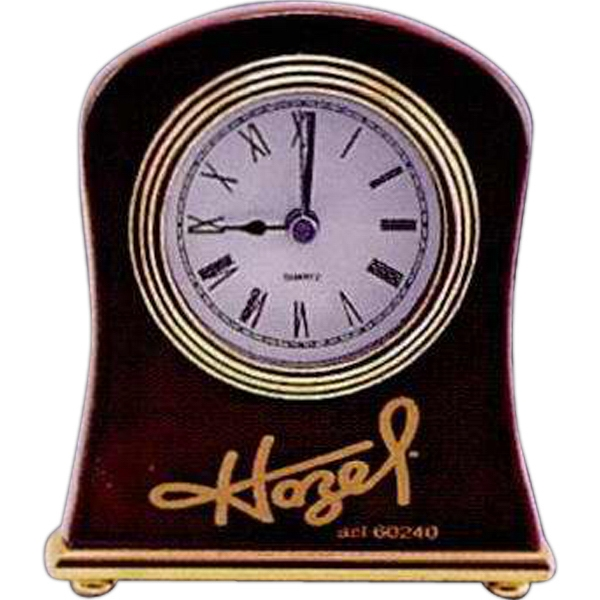 "A Rosewood Piano Finish Desk Clock. 4 1/2"" X 5"" Photo"