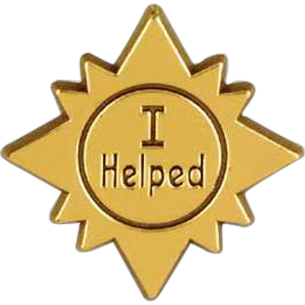 "Sun-shaped Plastic Lapel Pin With ""i Helped"" Lettering Photo"