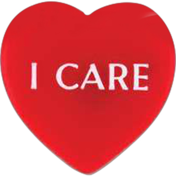 "Heart-shaped Plastic Lapel Pin With ""i Care"" Lettering Photo"
