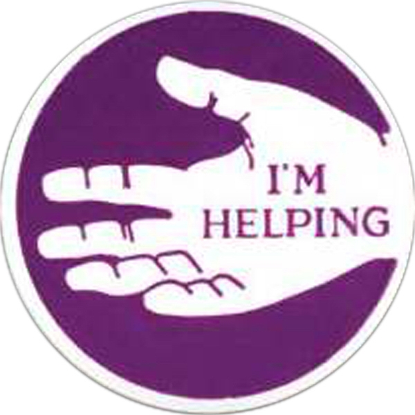 "Round Plastic Lapel Pin With ""i'm Helping"" Lettering And Open Hand Image Photo"