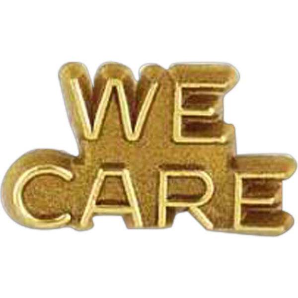 "Plastic Lapel Pin With ""we Care"" Lettering And Clutch Back Style Photo"