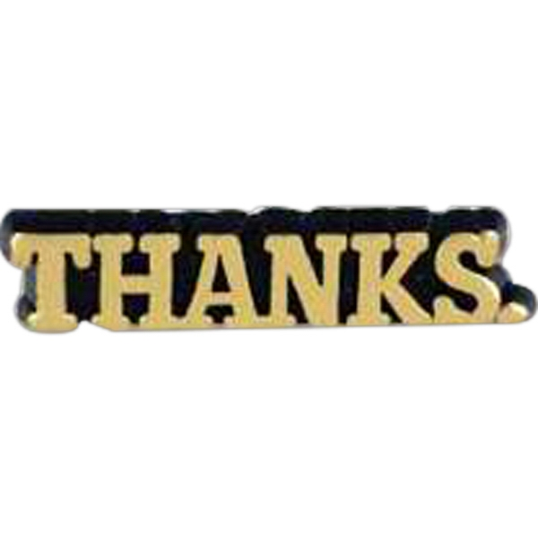 "Plastic Lapel Pin With ""thanks"" Lettering And Clutch Back Style Photo"
