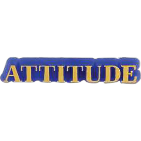 "Plastic Lapel Pin With ""attitude"" Lettering And Clutch Back Style Photo"