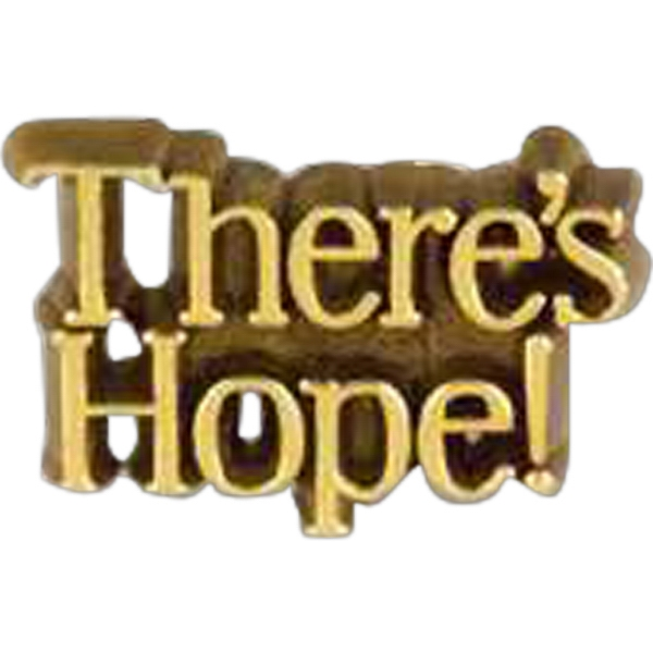 "Plastic Lapel Pin With ""there's Hope!"" Lettering And Clutch Back Style Photo"