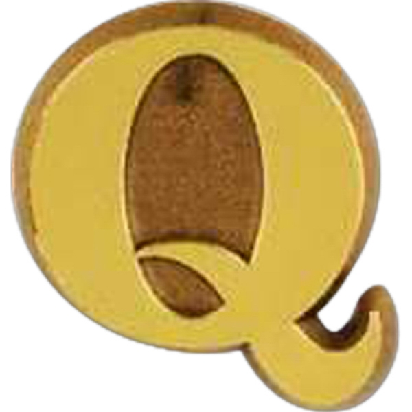 "Plastic ""q"" Shaped Lapel Pin With Clutch Back Style Photo"