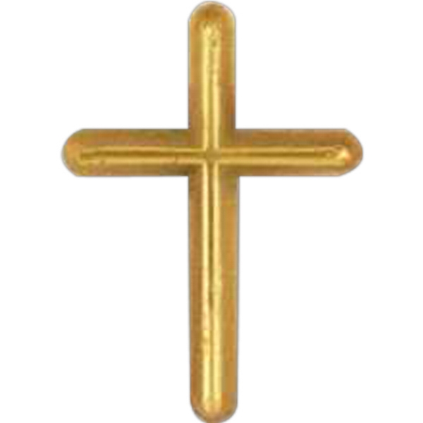 Cross-shaped Plastic Lapel Pin With Clutch Back Style Photo