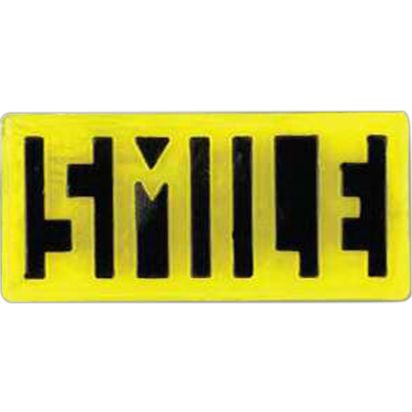 "Rectangular-shaped Plastic Lapel Pin With ""smile"" Lettering Photo"