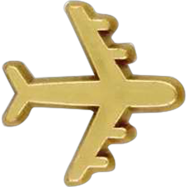 Plane-shaped Plastic Lapel Pin With Clutch Back Style Photo