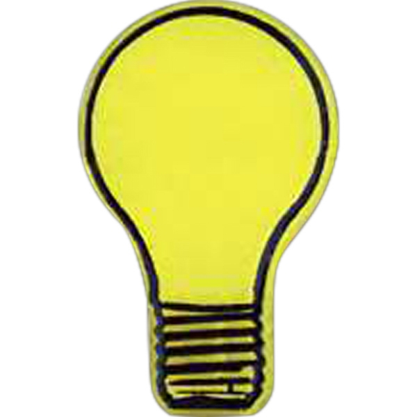 Light Bulb Shaped Plastic Lapel Pin With Clutch Back Style Photo