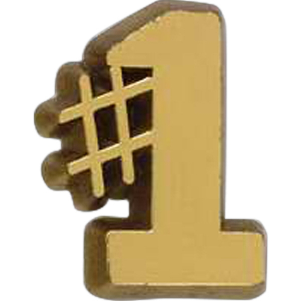 Number One-shaped Plastic Lapel Pin With A Clutch Back Photo