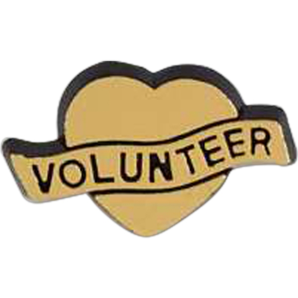"Heart-shaped ""volunteer"" Plastic Lapel Pin With Clutch Back Style Photo"