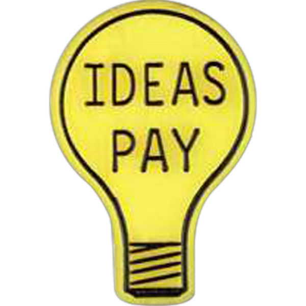 "Light Bulb Shaped ""ideas Pay"" Plastic Lapel Pin With Clutch Back Style Photo"