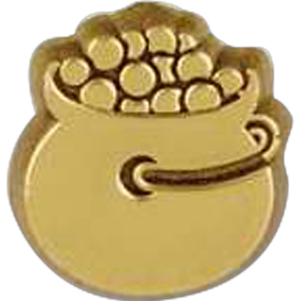 Pot Of Gold Shaped Plastic Lapel Pin With Clutch Back Style Photo